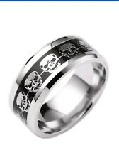 Men's Stainless Steel Skull Ring size 12 black and silver Valentines Special