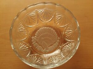 """Vintage Large Glass Fruit Bowl Frosted Peacock Design 9 1/4"""" Across."""