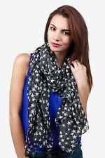 Black with White Star Silky scarf us seller