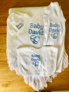 Personalised embroidered Baby gift set. Shawl-Hat-Babygrow-Bib boxing gloves