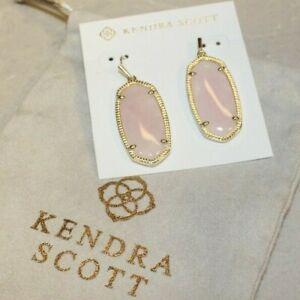New Kendra Scott Elle Drop Earrings In Rose Quartz / Gold with Pouch