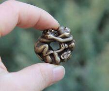 4 Cm Chinese Zodiac Aniaml 100% Pure Bronze 3 Don't Monkey Statue Amulet Pendant