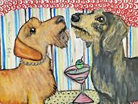 Wirehaired DACHSHUND drinking Martini Original 9x12 Pastel Painting Artist KSams