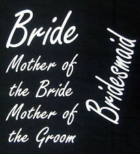 iron on transfers 4 wedding designs FOR ONLY £3.95p. hen party bride bridesmaid