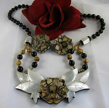 Beautiful Floral MOP Beaded Necklace & Earrings  Set  CAT RESCUE