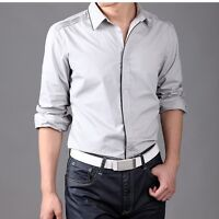 Mens Long Sleeves Dress Shirts Business Work Luxury Casual Slim Fit Camisas 6210