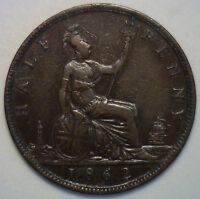 1862 Bronze Half Pence UK Half Penny Britain Coin XF