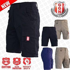 Cargo Shorts Mens Work Wear Cotton Drill UPF 50+ 13 pockets Modern Fitting