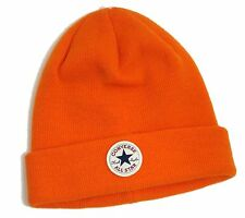 LADIES ALL STAR CONVERSE ORANGE ACRYLIC LOGO BEANIE KNIT HAT ONE SIZE