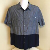Rock & Republic Mens Blue Short Sleeve Button Front Shirt XL 100% Cotton FS!