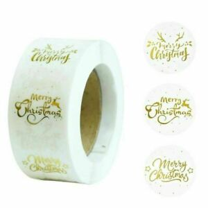 Merry Christmas design stickers/labels round 25mm- Clear/Gold - Gift Craft Xmas