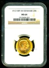 DENMARK 1913 VBP AH GOLD COIN 20 KRONER * NGC CERTIFIED GENUINE MS 64 *EXQUISITE