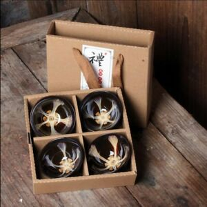 4Pcs Ceramic Tea coffee Cup set traditional Chinese cappucino ancient Porcelain