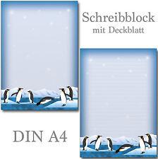 2 Schreibblöcke Pinguine Tiere A4 je 24 Blatt Briefpapier Motivpapier Briefblock