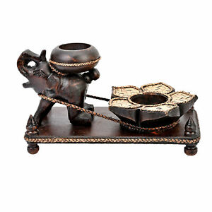 Adorable Elephant Pulling a Lotus Flower Carved Rain Tree Wood Candle Holder