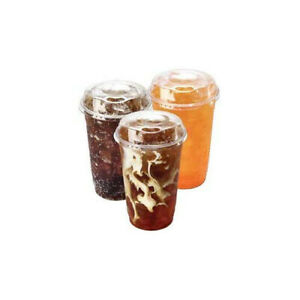 Takeaway cups with sip through lids (set of 50) for drinks sweets popcorn