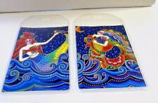 Laurel Burch Rare mermaid fabric Luggage Tags Set of 2 Travel Accessory Sea Gift