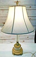 VINTAGE Pair of Brass & Clear Bubble Glass Table Lamps MCM Set of 2