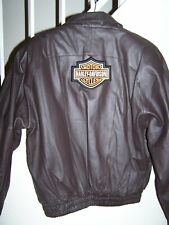 Harley patch on back men's sz medium (44) brown heavy leather bomber jacket/PC