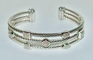 Authentic DAVID YURMAN 3 Row Diamond Stg Silver Confetti Stackable Cable Bangle