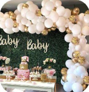 WHITE GARLAND 135 PCS BALLOON ARCH WEDDING BIRTHDAY BABY SHOWER CONFETTI KIT UK