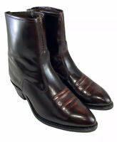 TEXAS BURGUNDY LEATHER ANKLE ZIP COWBOY WESTERN DRESS BOOTS MENS SIZE US 11.5 EE