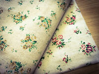 Shabby Chic Red & Yellow Roses Natural Cotton Linen Fabric. Price per 1/2 metre