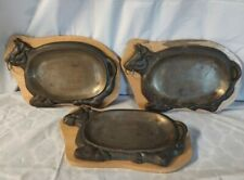 Cast Iron & Wood Bull Steak Warming Sizzler Plates Cattle Steer (3)
