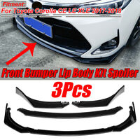 For Toyota Corolla CE LE XLE 2017 2018 Gloss Black Front Bumper Lips Spoiler