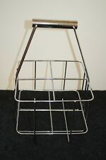 """CHROME Stainless Steel DAIRY MILK BOTTLE CARRIER Metal HANDLE UNIQUE 13.25""""H"""