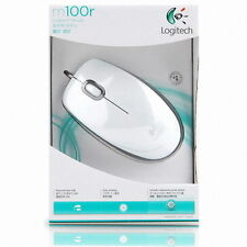 [Logitech] M100r Wired Optical Mouse, Mice, 1000DPI, USB - White