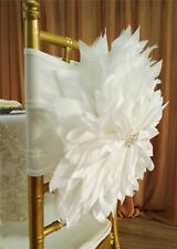 2pcs Fancy handmade wedding flower chair back band bow decor covers for wedding