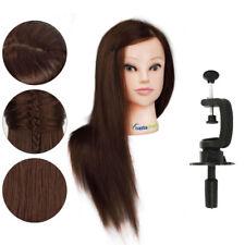 "100 Human Hair 22"" Salon Hairdressing Head Mannequin Clamp Training Doll Model"