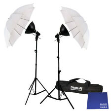 "Phot-R 2x 175W Photo Studio 33"" Umbrella Light Stand Bulb Dish Chamois Cloth"