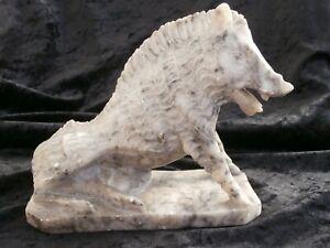 Marmor Skulptur Keiler Wildschwein sitzend marble sculpture boar