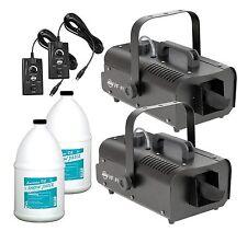 (2) American Dj Vf Flurry High Output Snow Machines w/ Remotes & (2) Snow Fluids