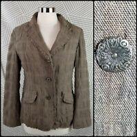 J. Jill Wool Blend Button-up Jacket Womens size 6 blend twill Raw Edge Ruffle