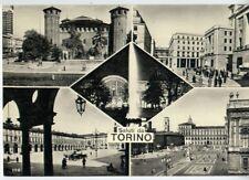 Saluti da TORINO Stazione Palazzo Madama Castello Fontana vedute B/N NV perfetta