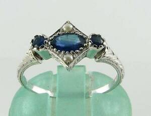 DAINTY 9K 9CT WHITE GOLD BLUE SAPPHIRE & PEARL ART DECO INS RING FREE RESIZE