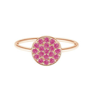 9K Rose Gold Solitaire Round Pink Sapphire Gemstone Cluster Disc Ring