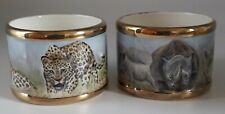 More details for sandra selby ceramics freehand painted collectable leopard and rhino napkin ring