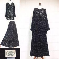 Vintage Laura Ashley Black Velvet Outfit Suit Maxi Skirt Blouse 16-18 Devore /Q8