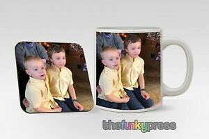 Personalised Mug And Coaster With Your Photo Cup Coffee Tea Gift Matching Set