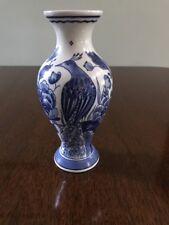 Royal Delft De Porceleyne Fles Vase blue white Bird Peacock floral decor