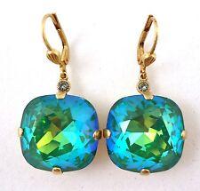"CATHERINE POPESCO 18mm Mermaid Swarovski Crystal Gold Earrings 1 1/2"""