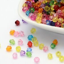 500 x 4mm Bicone Mixed Acrylic Round Beads Faceted