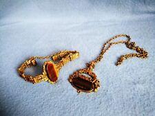 Vintage Finnish Jewelry Finland Bronze Pendant Brass Necklace Bracelet Tiger Eye