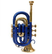 Pocket Trumpet 3-V Blue Color Hard Case + Mouth Piece X-Mas Day Gifts for Father