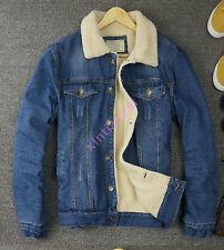 Retro Mens Fur Lined Jean Denim Fleece Jacket Cowboy Coat Winter Outwear M-XXL