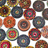 50Pcs Mixed Wooden Buttons Flower Round 2-Holes Sewing Scrapbooking DIY